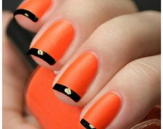 OPI Lot~ Orange & Black Matte French ~OPI Atomic Orange, Black Onyx, Matte Top Coat With easy to follow instructions