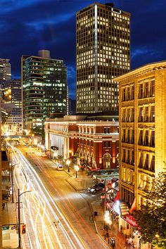 Downtown Vancouver, British Columbia at Night Downtown Vancouver Hotels, Vancouver City, Vancouver British Columbia, Vancouver Island, Most Beautiful Cities, Wonderful Places, Vancouver Photos, Western Canada, Destinations