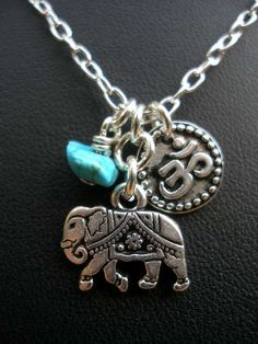 ☮ American Hippie Bohemian Style ~ Boho Jewelry . . India Elephant OM and Turquoise Necklace