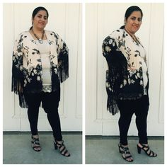 Reduced Floral print kimono cardigan Beautiful floral print , open front , kimmo style fringed asymmetrical Cardigan . Other sizes also available . 100% polyester Sweaters Cardigans