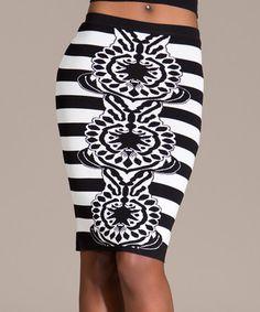 Look what I found on #zulily! Black & White Stripe Fleur Pencil Skirt #zulilyfinds