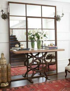ROOM/STYLE: Foyer/Eclectic DESIGNER: SOLEDAD ALZAGA PROJECT: Jackson St ROOM DESCRIPTION: Industrial mirror, industrial table, Moroccan accents