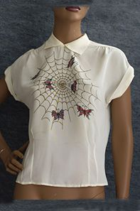 Painted ivory crepe blouse, 1940s. I love the whimsical painted design of butterflies in a web.