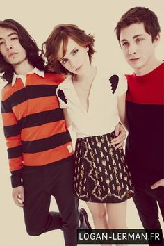 Logan Lerman, Emma Watson, Ezra Miller. Look at these babes. How cute are they. FREAKING ADORABLE, thats how cute.