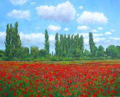 cuadro de flores amapolas