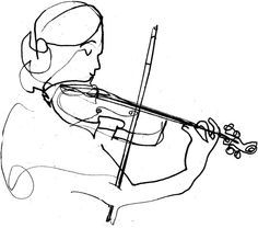 Line Art Music Drawings - - Music Drawings, Art Drawings, Line Art Lesson, Line Art Projects, Violin Art, Violin Drawing, Line Art Flowers, Line Art Vector, Line Art Tattoos