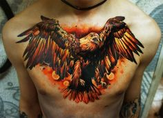 Big Red Eagle on chest. Tattoo by Pavel
