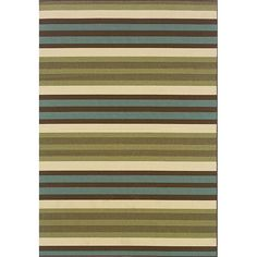 With its beautiful panel of blue, green, and ivory, the lovely design of this striped outdoor area rug works equally well for all four seasons. Specially made for maintaining its durability outdoors, this rug is both water repellent and stain resistant.