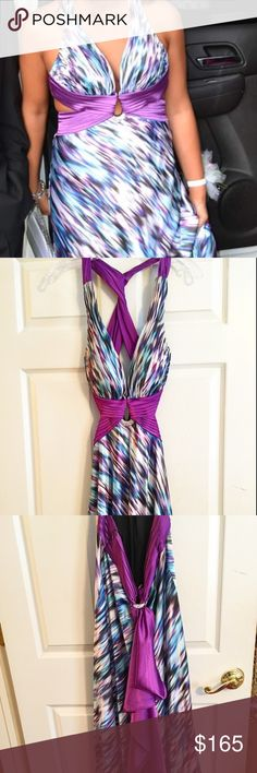 ✨HUGE SALE✨LA FEMME DRESS 💜 LA FEMME formal evening gown with multicolor design and exposed back. Only warn once and in excellent condition!   Long in length and has purple tail that can be detached, if wanted. Beautiful silver and glittery gem that holds tail (in back) and also has one in chest. Please see pictures. Overlapping straps in back with exposed sides. Very beautiful dress! La Femme Dresses Prom