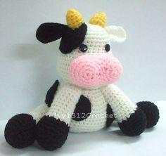 "Milk Cow 7.87"" - CIJ Big Finished Handmade Amigurumi crochet Dairy cow doll Home decor birthday gift Baby shower toy"