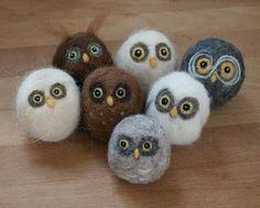 Fiber Art | Needle Felted owls