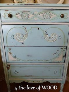 painted antique dresser~ architectural elements make the piece