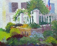 """Eden Roses Along The Fence At Morning by Roxanne Steed Oil ~ 8"""" x 10"""""""