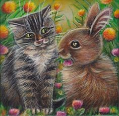 Gray Tabby Cat & Bunny Easter Spring  Painting #Realism