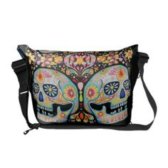 Shop Day of the Dead Sugar Skulls Messenger Bag created by thaneeyamcardle. Personalize it with photos & text or purchase as is! Beautiful Handbags, Beautiful Bags, Cute Purses, Purses And Bags, Pack Your Bags, Shopping Day, Sugar Skulls, Travel Bag, Diaper Bag