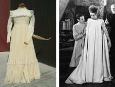 To create the Bride of Frankenstein look, start with a long, vintage wedding dress (the bigger the better), and trim away any excess details. As long as you have the signature teased hair and dramatic makeup, this will be both recognizable and totally customizable.