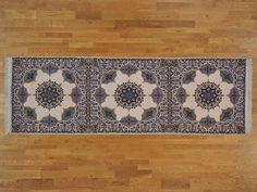 4' x 13' Wool and Silk Gallery Size Persian Esfahan 500 kpsi Handmade Rug -