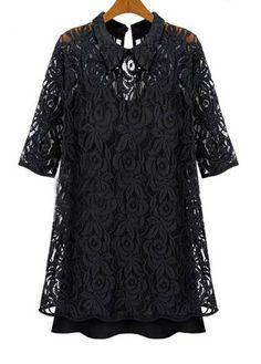 Fine Quality Shirt Collar Half Sleeve Black Lace