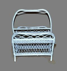 Magazine Rack Holder  White Wicker Rattan  by ChicMouseVintage