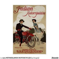 Dutch Ad for Indian Motorcycles, 1921 (Bill Cannon did a yellow-beige reproduction)