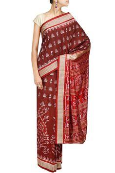 Maroon tribal kutch silk sari BY TAJ KHAZANA. Shop now at: http://www.perniaspopupshop.com/ #perniaspopupshop #tribal #kutchweave #maroonlove #designer #label #TajKhazana #style