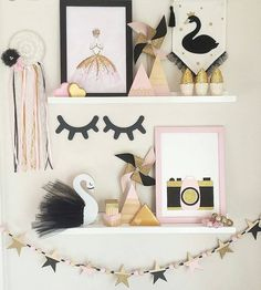 Exciting news! Now up on the website we have the ever gorgeous Pretty in Pine Sleepy Eyes in black baby pink gold glitter and raw/natural wood. These are so striking on a wall in a nursery or kid's room as shown in this beautiful pink black and gold shelfie by @a_perfect_obsession