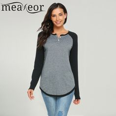 Top Sale $11.95, Buy Meaneor Women T-Shirts Women 2017 Casual Long Raglan Sleeve O Neck Block Patchwork Loose Pullover Tee Shirt  Ladies Clothes