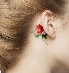 Tiny Watercolor Rose Tattoo Behind The Ear for Girls