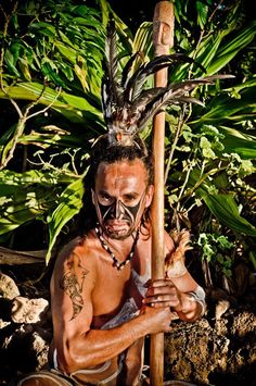 """""""Respect should be given to those indigenous nations who still carry on their ceremonies; still following the ancient laws of nature with songs and ceremonies."""" -Oren R. Lyon. Pic is of a Rapanui warrior"""