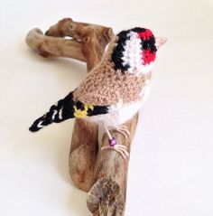 Goldfinch crochet bird sculpture realistic by FreshlyKnittedThings ♡