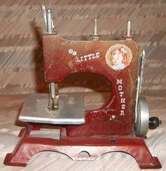 Vintage Antique LITTLE MOTHER Artcraft Metal Childs Toy Sewing Machine Hand Turn