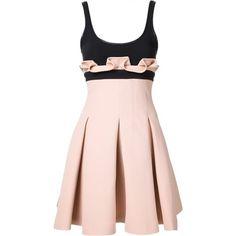 DAVID KOMA - Pleated Skirt Dress - DK02DA BC BLACK/PINK - H. Lorenzo (5.915 RON) ❤ liked on Polyvore featuring dresses, david koma, pleated dress, pink dress, david koma dress and pink day dress