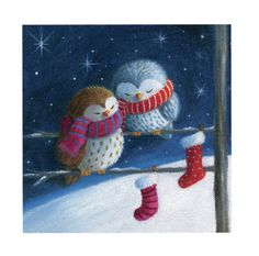 Pauline Siewert - Two Christmas Owls