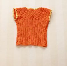 Orange Baby Vest in Cotton Knit with a Yellow Hem by ElleBelleVin
