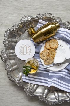 vintage silver tray with mint julep and gold cocktail shaker Monogram Coasters, Personalized Coasters, Custom Coasters, Silver Trays, Good Ole, Cocktail Shaker, Foil Stamping, Chipboard, Ink Color