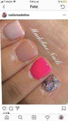 Sparkle Nails, Pink Nails, My Nails, Trendy Nails, Cute Nails, Sassy Nails, Vacation Nails, Crazy Nails, Dipped Nails
