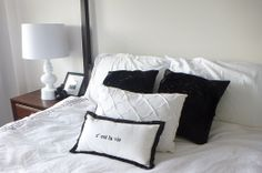 Master Bedroom black and white Bedroom Black, Master Bedroom, Bed Pillows, Pillow Cases, Black And White, Home, Decor, Master Suite, Pillows