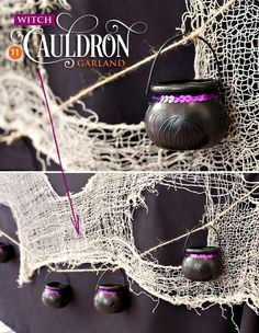 DIY Witch Cauldron Garland - super easy & inexpensive! | Hostess with the Mostess #halloween #crafty