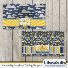 You are My Sunshine Party Printable Zip top Bag Toppers  by #AmandaCreation, perfect for coordinating your goody bags. Just fill up a zip top baggie with treats and top it off for a instant party favor.