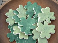 Shamrock Bowl Fillers Salt Dough Ornaments by cookiedoughcreations, $9.95