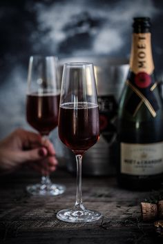 Kir Royale A simple champagne cocktail that's perfect to get any party started! Cocktail Photography, Wine Photography, Food Photography Styling, Cocktails, Food Styling, Wine Logo, Wine Display, Wine Signs, Sweet Wine