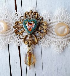 """Handmade ANTIQUE LACE CHOKER, Perfect Bridal Jewelry - """"The Old Days"""" - Vintage Micro Mosaic Heart,, Vintage Buttons Etc. Bohemian Wedding. $38.00, via Etsy."""