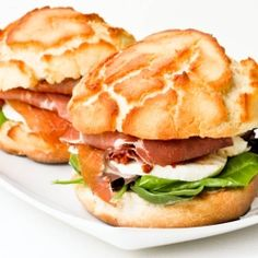 TIger Bread Sandwiches - Hands down the best sandwich ever - dutch crunch bread with prosciutto, sun dried tomatoes, mozzarella and spring mix