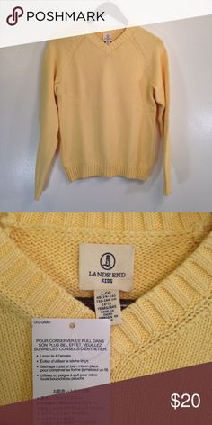 "Lands' End Girls Sweater Pale yellow sweater from Lands' End. Length 24"", chest 18"", across, waist 18"" across. 100% cotton. Lands' End Shirts & Tops"