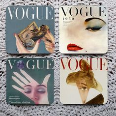 The Eyes Have It -- Vintage Fashion Magazine Covers Mousepad Coaster Set on Etsy, $13.87 AUD