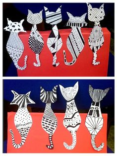 Katzen Muster fineliner - Katzen Muster fineliner Katzen Muster fineliner Katzen Muster fineliner Welcome to our website, We - Kids Crafts, Cat Crafts, Splat Le Chat, Newspaper Art, 3rd Grade Art, Ecole Art, Collaborative Art, Elements Of Art, Art Classroom