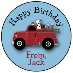 firetruck birthday stickers - fireman firefighter birthday sticker -- gift tag favor tag