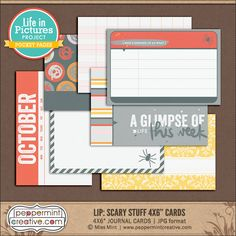 LIP: Scary Stuff 4x6 Pocket Cards from Peppermint Creative #halloween #projectlife