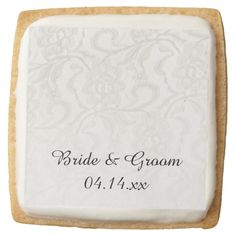 White Lace Wedding Cookie Square Premium Shortbread Cookie