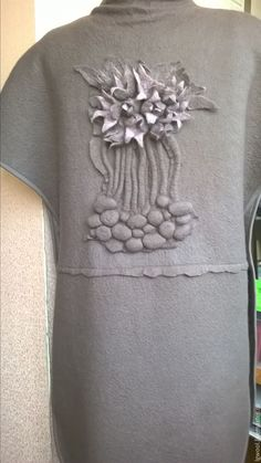 """Купить Валяный жилет-пальто """"Сон-трава"""" - темно-серый, однотонный, гризли, лилак"""